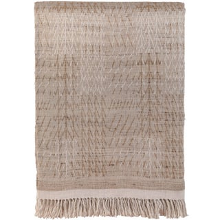 Indian Handwoven Raw Silk and Linen Beige Neutrals Bedcover For Sale
