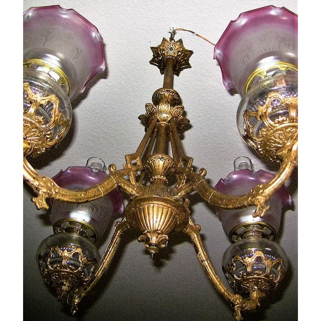 19c Pair of Bradley and Hubbard Gold Leaf 4 Arm Chandeliers - Image 9 of 13
