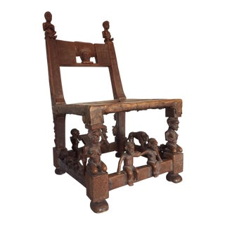 Early 20th Century Chokwe Throne Chair, Central Africa For Sale
