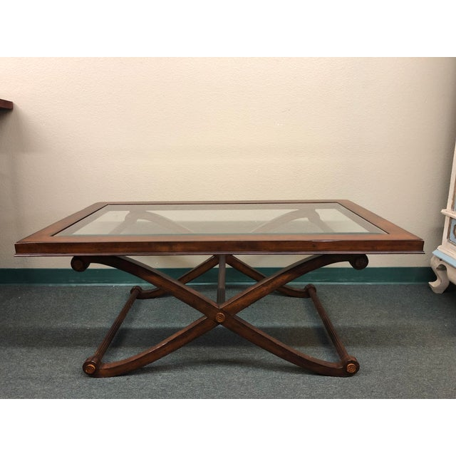 Traditional Beveled Glass + Wood Cocktail Table - Image 2 of 7