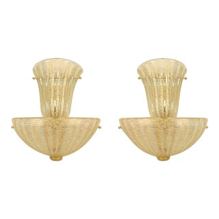 "Italian ""Rugiada"" Gold-Flecked Murano Glass Sconces - a Pair For Sale"