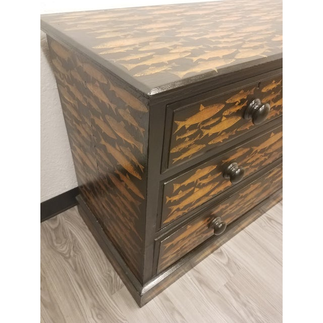 Antique English Fish Decoupage Chest of Drawers - Two Drawers Over Two Drawers For Sale - Image 10 of 13