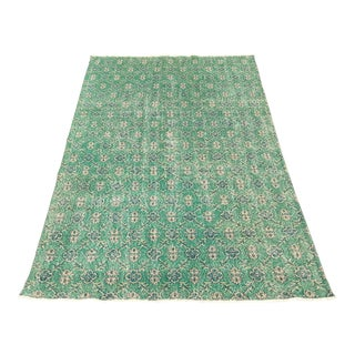 Vintage Turkish Rug in Vibrant Green & Navy - 5′9″ × 12′