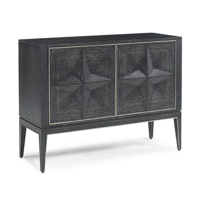 The Leo Hall Chest This unique two door hall cabinet features relief diamond patterned door fronts in a rich back cerrused...