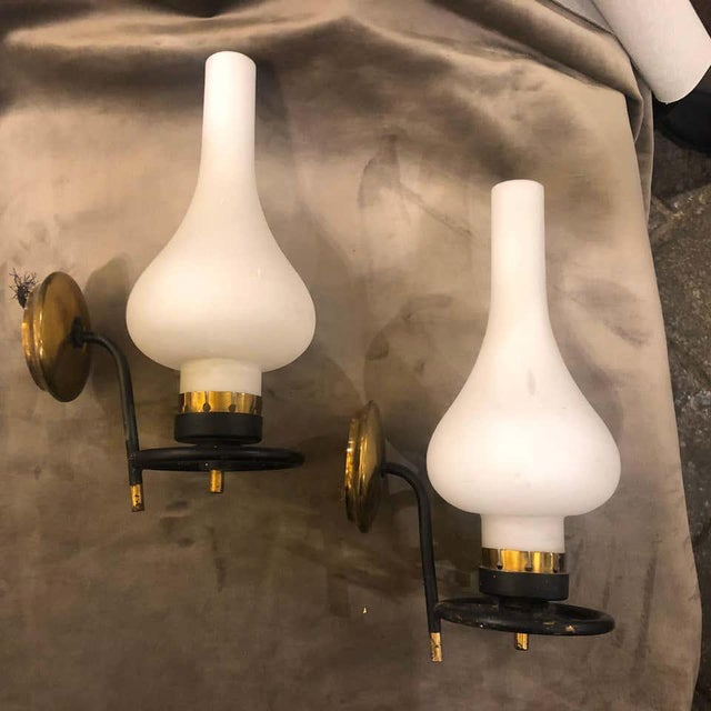 Brass 1950s Italian Mid-Century Modern Brass and White Glass Wall Sconces - a Pair For Sale - Image 8 of 12