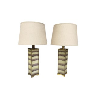 1940s Lightolier Frosted Glass Table Lamps in the Style of James Mont For Sale