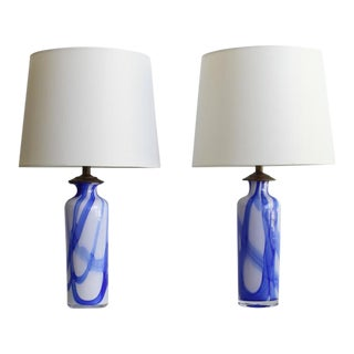 A Pair of Abstract Murano Glass Table Lamps For Sale
