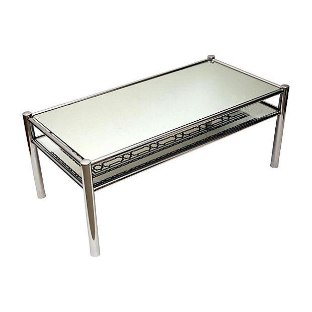 Mirrored Glass & Chrome Cocktail Table - Image 1 of 8