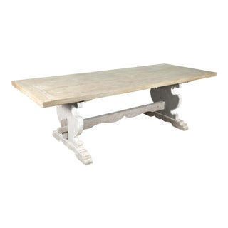 Painted Baroque Style Italian Trestle Table With Scrubbed Pine Top For Sale