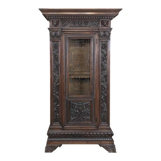 Antique Italian Renaissance Walnut Curio Cabinet For Sale
