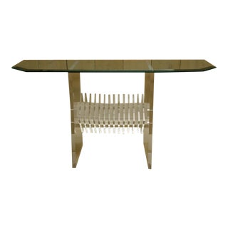 Mid-Century Glass Top Console with Fabulous Lucite Base For Sale