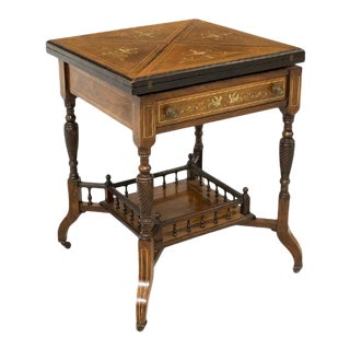 Antique English Neoclassical Rosewood Marquetry Envelope Top Game Table For Sale