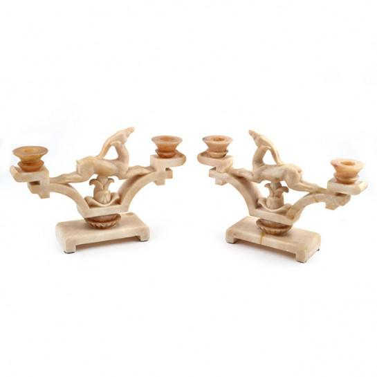 1920s Italian Art Deco Period Onyx Jumping Gazelle Candleholders - a Pair For Sale - Image 11 of 12