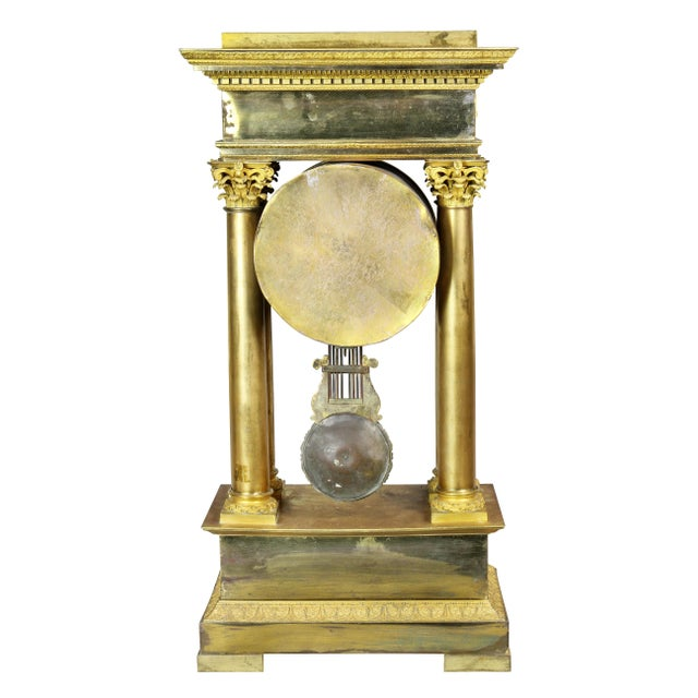 French Empire Bronze Mantle Clock For Sale - Image 11 of 12