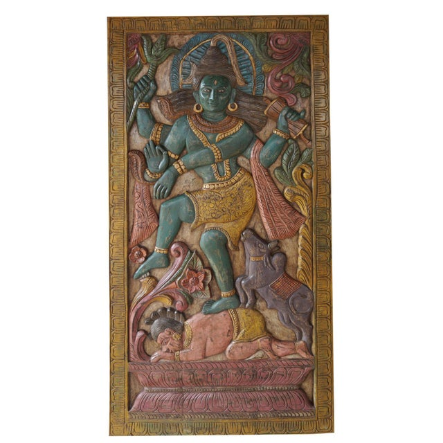 Vintage Indian Hand Carved Shiva Dancing Transformation Energy Natraja Door Panel Wall Relief For Sale - Image 4 of 4