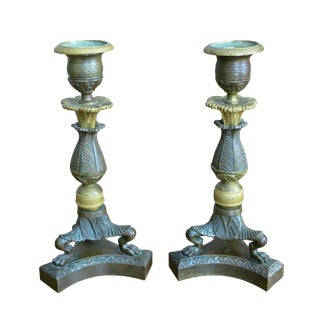 Early 19th Century Vintage French Gilt & Patinated Bronze Charles Candleholders- A Pair For Sale