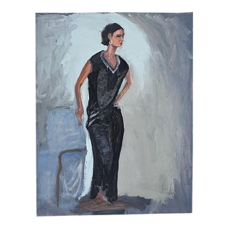 """Tall Portrait Painting of a Woman in Black 23.5"""" X 17.5"""" - Clair Seglem For Sale"""