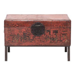18th Century Chinese Red and Gilt Lacquered Trunk For Sale