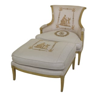 Italian Design Yellow Paint Decorated 2 Piece Chaise Chair & Ottoman - 2 Pieces For Sale