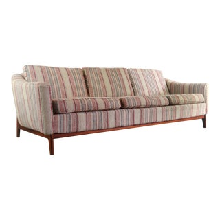 Mid Century Modern Danish Sofa on Walnut Base with Gorgeous Back Detail For Sale