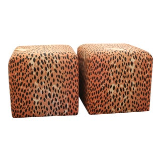 Orange Leopard Ottoman/Stools - a Pair For Sale