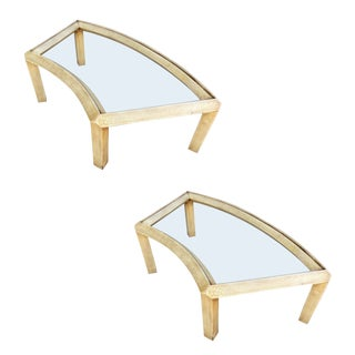 Pair of Signed Crackled Lacquer Curved Side Tables by Phyllis Morris, 1970s. For Sale