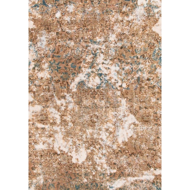 Abstract Vintage Wool Tabriz Rug For Sale - Image 3 of 6