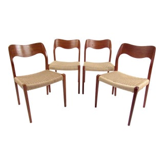Set of n.o. Møller Dining Chairs With Papercord Seats For Sale