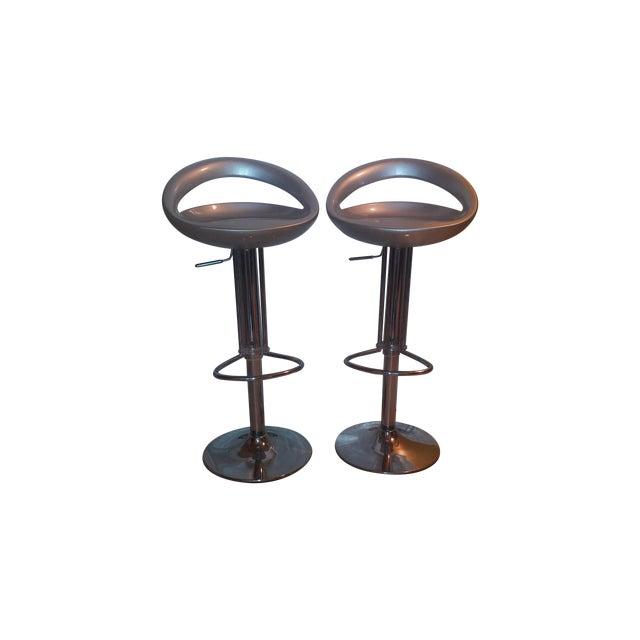 Silver Modern Bar Stools - A Pair - Image 1 of 8