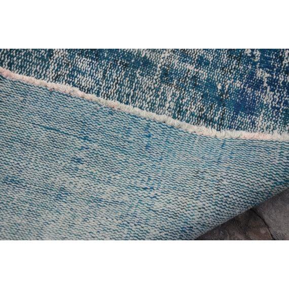 Vintage Handwoven Turkish Oushak Blue Rug - 6′2″ × 9′6″ - Image 6 of 6