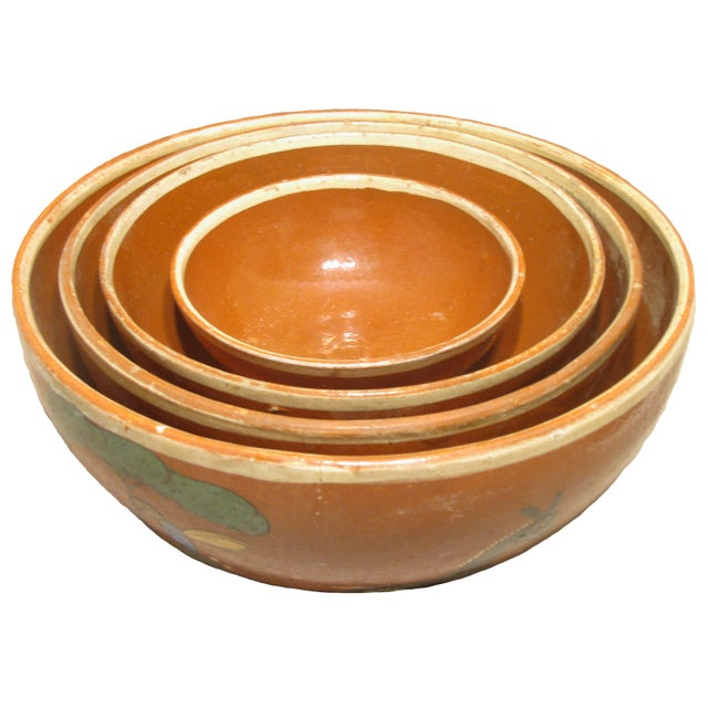 Mid 20th Century Mid-Century Mexican Hand-Painted Earthenware Bowls - Set of 4 For Sale - Image 5 of 5