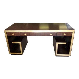 Lexington Furniture Bel Aire Brentwood Walnut & Gold Leaf Home Office Writing Desk For Sale