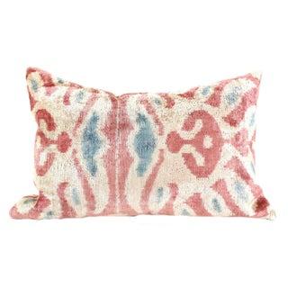Pink Silk Ikat Velvet Pillow For Sale