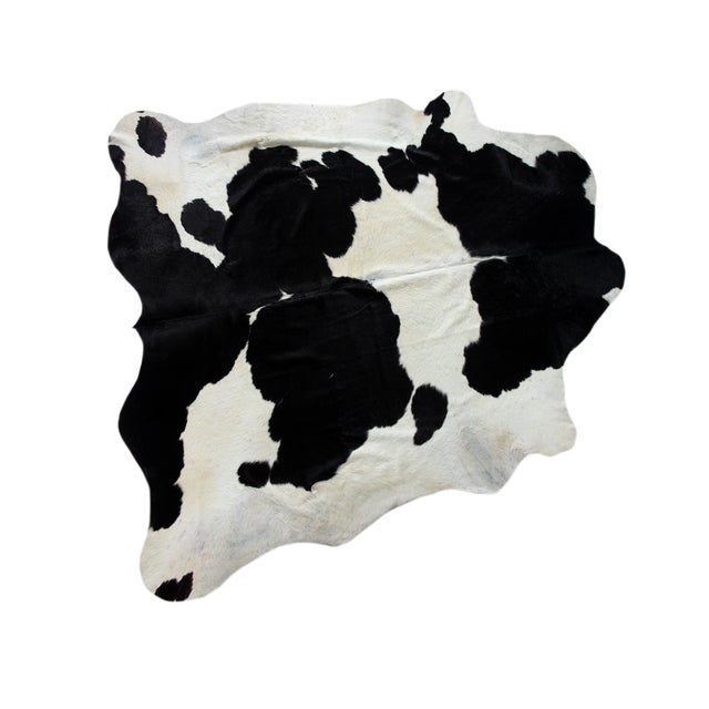 "Brazilian Black & White Cowhide Rug - 7'1"" x 7'3"" - Image 1 of 2"