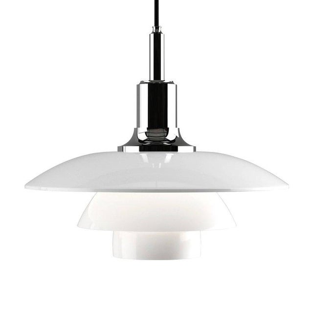 White Poul Henningsen Brass and Glass Ph 3½-3 Pendant for Louis Poulsen For Sale - Image 8 of 12