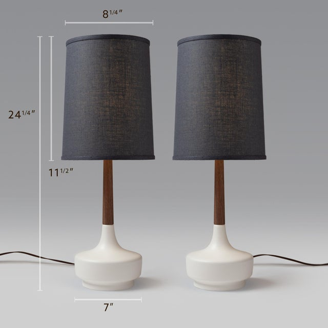"Danish Modern Mid-Century Inspired ""Brooke - Marin"" Table Lamps - a Pair For Sale - Image 3 of 3"