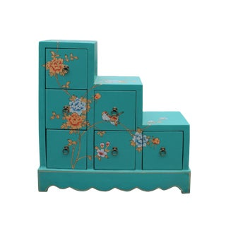 Oriental Turquoise Aqua Color Small Step Tansu Cabinet For Sale