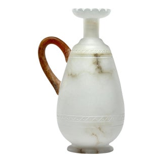 Tall Alabaster Ewer With Contrasting Handle and Fluted Rim For Sale
