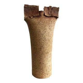 1970s Vintage Mid Century Modernist Slab Ceramic Stoneware Vase, Signed & Dated For Sale