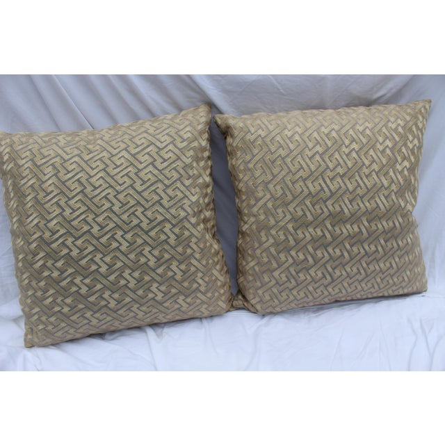 """This pair of mid-century modern/contemporary silk down pillows has a motif similar to """"Greek Key"""" in beige and taupe. A..."""