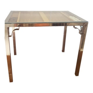 Vintage Chrome Table With Inset Marquetry Backgammon Board