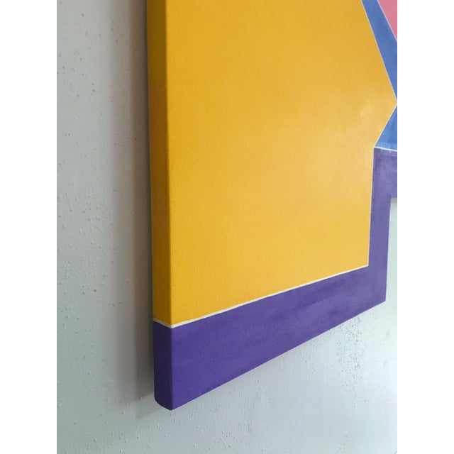 Colorful Original Post Modern Shaped Canvas Large Scale Hard Edge Abstract Painting For Sale In Portland, OR - Image 6 of 9