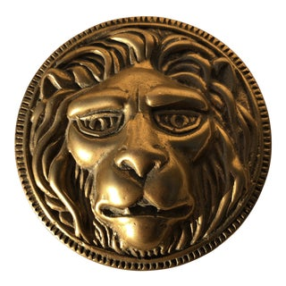 Vintage Mid Century Solid Brass Lions Head Medallion Paperweight For Sale