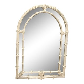 Vintage Gampel Stoll Serge Roche Style White Lacquer and Plaster Mirror For Sale
