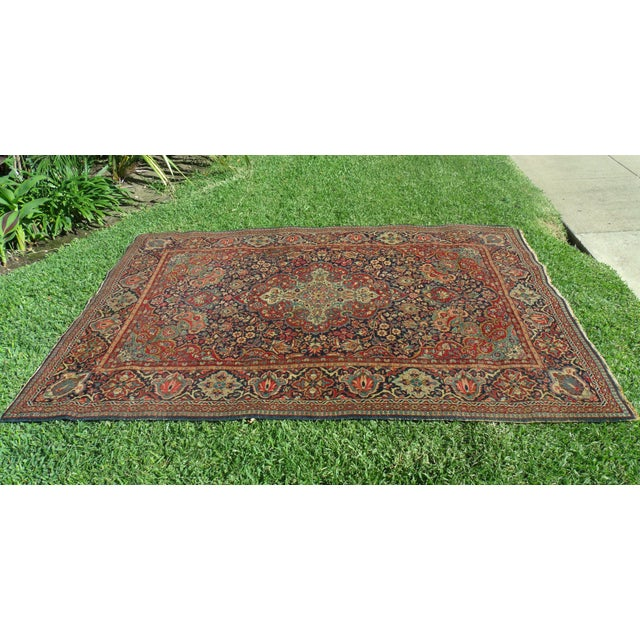 Antique Persian Oriental Handwoven Rug - 4'5'' X 6'6'' For Sale - Image 4 of 11
