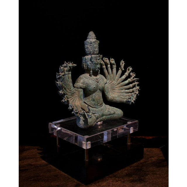 Asian A Khmer Bronze Figure of Prajnaparamita with Eleven Faces For Sale - Image 3 of 8