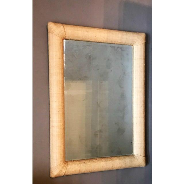 Custom Raffia Covered Beveled Mirror For Sale In Las Vegas - Image 6 of 6