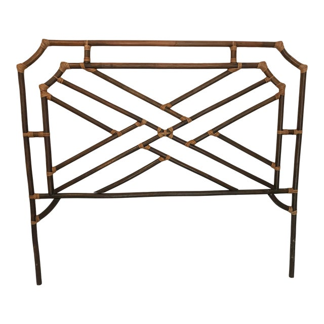 Vintage Chippendale Double or Queen Bamboo Pagoda Headboard For Sale