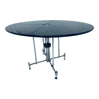 Postmodern Architectural Tensegrity Granite and Chrome Dining or Conference Table, 1980s For Sale