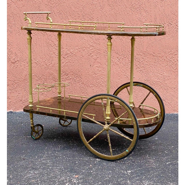 Vintage Aldo Tura Goatskin Bar Cart For Sale - Image 12 of 13